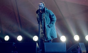 A perfect, anti-sentimental tribute … Liam Gallagher performs on stage at The Brit awards.