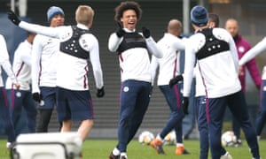 Leroy Sané and Manchester City players during a training session on Friday.