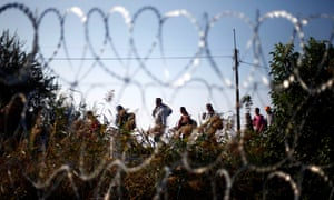 Syrian refugees walking across Europe