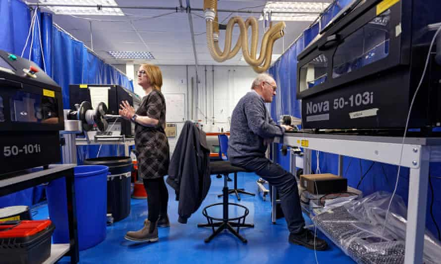 Employees testing equipment at Spectrum Technologies in Bridgend.