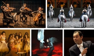 Clockwise from top left: Quatuor Danel, Davide Penitente horse ballet, conductor Tugan Sokhiev, the 2009 Glyndebourne production of Purcell's The Fairy Queen, and Parsifal (Opera Vlaanderen).