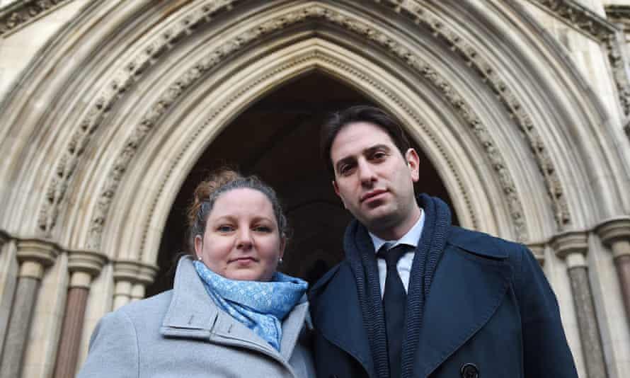 Rebecca Steinfeld and Charles Keidan outside the high court in London.