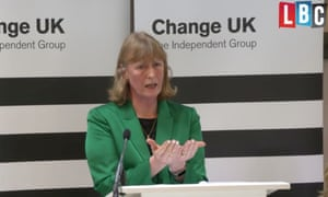 Change UK's Joan Ryan during her 'look at your hands' speech at Bath Cricket Club.