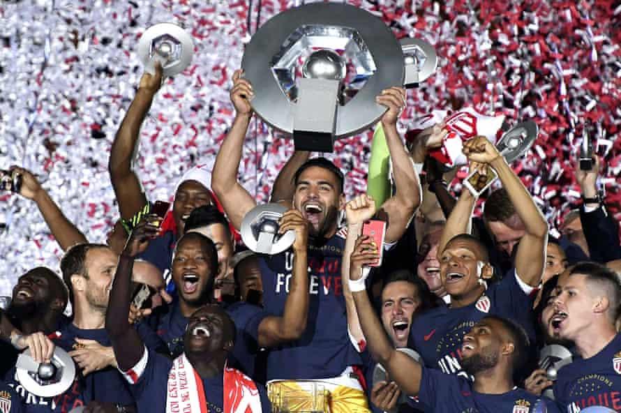 Radamel Falcao and his Monaco teammates celebrate winning the Ligue 1 title in 2017.