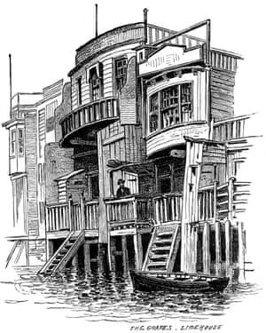 The Grapes Public House, Limehouse, Londres, 1887. El Grapes Pub, construido en 1720, era una taberna frente al mar visitada por los estibadores de Limehouse. Una impresión de The Illustrated London News, 26 de febrero de 1887. (Foto de The Print Collector / Print Collector / Getty Images)