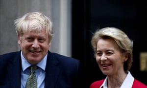 Boris Johnson, the UK prime minister, and the European commission president, Ursula von der Leyen in London in January 2020
