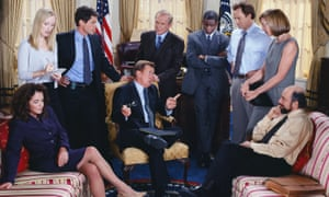 Team Bartlet … from left, Abbey Bartlet (Stockard Channing), Donna Moss (Janel Moloney), Sam Seaborn (Rob Lowe), President Jed Bartlet (Martin Sheen), Leo McGarry (John Spencer), Charlie Young (Dulé Hill), Josh Lyman (Bradley Whitford), CJ Cregg (Allison Janney) and Toby Ziegler (Richard Schiff).
