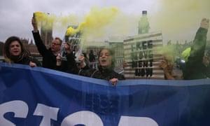 Anti-Brexit demonstrators on Westminster bridge in November.