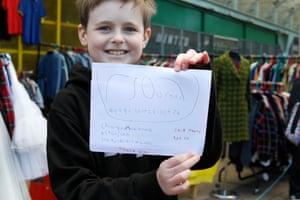 Jack, 10, outside Monorail in Glasgow