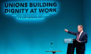 Sir Keir Starmer speaking to the TUC conference this morning.