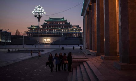 Ordinary people in extraordinary times … a group of students in Kim Il-sung square, Pyongyang.