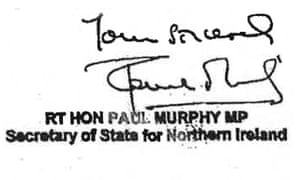 Prince Charles Letters - Signoff from Paul Murphy