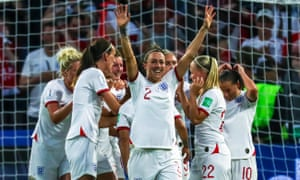 Lucy Bronze celebrates the goal that put England 3-0 up against Norway in their Women's World Cup quarter-final