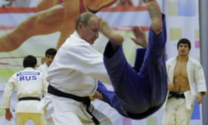 Putin at a judo training session in St Petersburg, 2010.