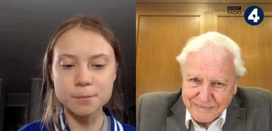 Greta Thunberg meets David Attenborough via Skype.