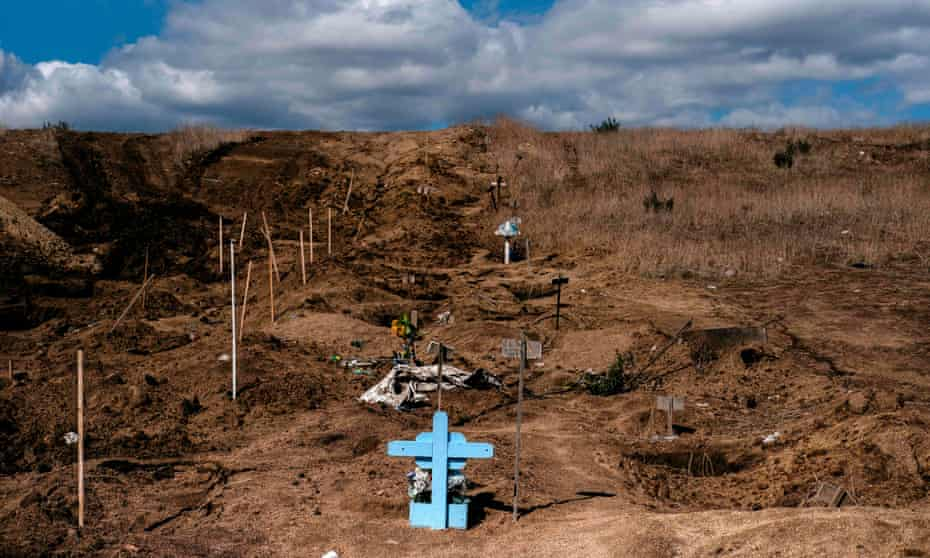 View of new common graves -needed due to the increase in the number of murders in the past months- at a cemetery in Tijuana, Baja California State.