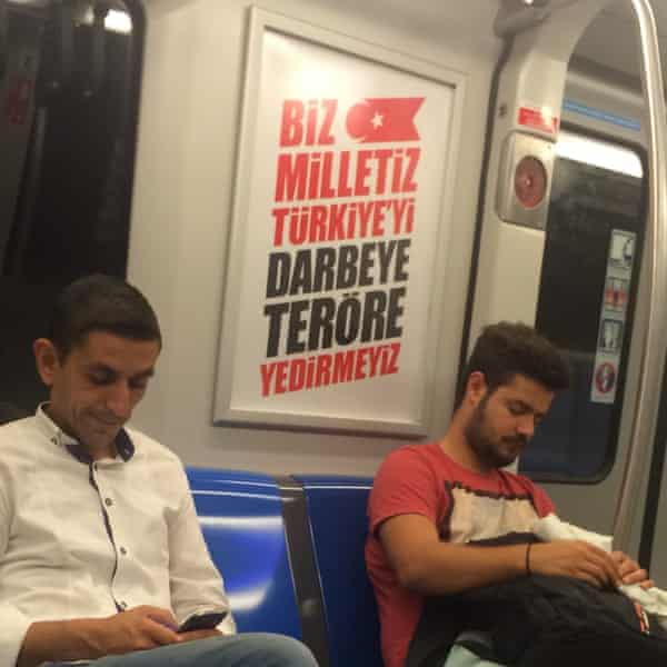 Government poster on a train in Istanbul.