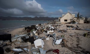 A beach is littered with rubble in the Baie Nettle area of Marigot on St Martin island, devastated by Hurricane Irma