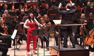 Superb … soprano Allison Bell, with conductor Sakari Oramo and the BBC Symphony Orchestra.