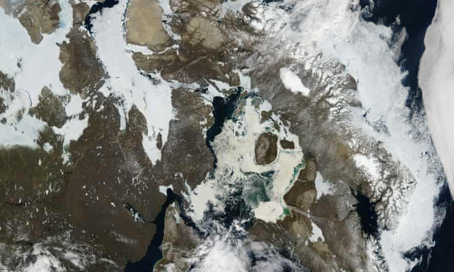 A Nasa image shows receding ice cover over northern Canada.