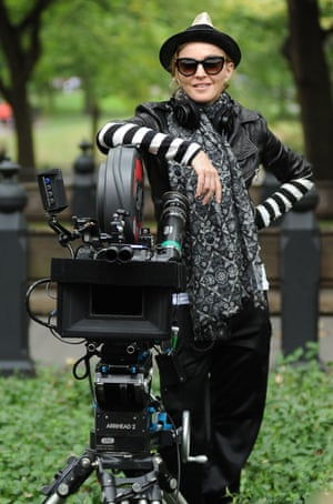 2010: Directing her movie W.E. in Central Park, New York
