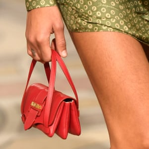 A Jacquemus micro bag on the catwalk.
