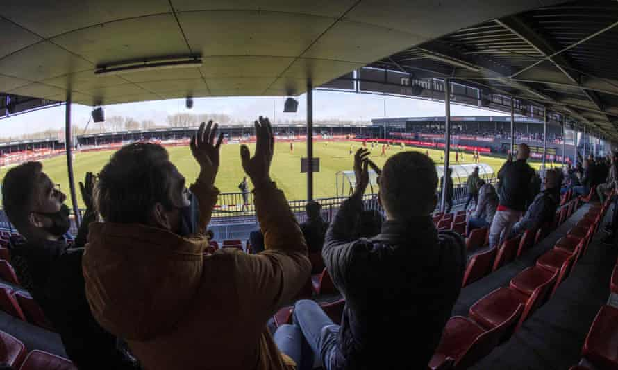 Fans at Almere City's game against Cambuur last month. It was one of two Dutch second division games supporters were allowed to attend as part of the experiment.