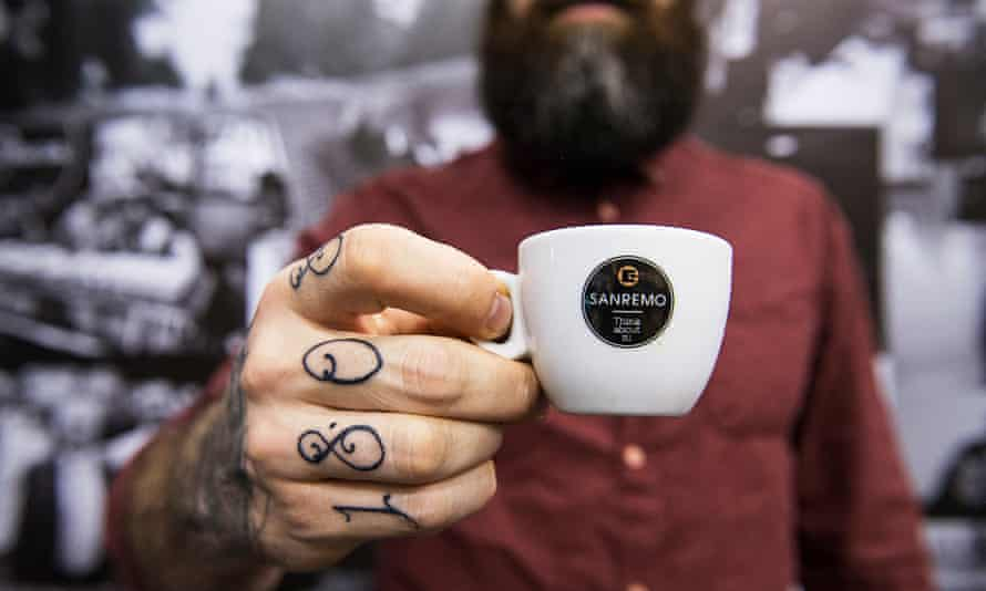 hipster guy with coffee and beard