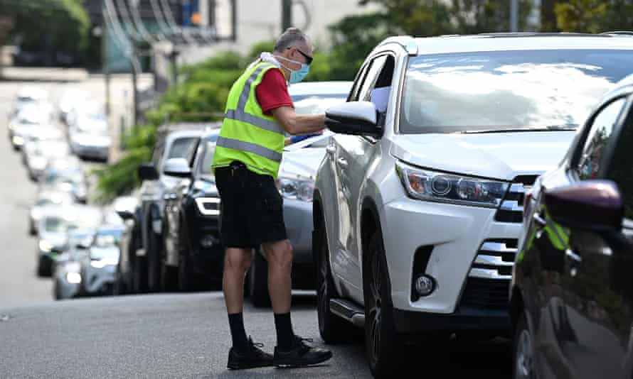 Vehicles line up for Covid testing at the Bowen Hills medical centre in Brisbane after Queensland premier Annastacia Palazczuk announced a three-day lockdown for the greater Brisbane area from 5pm on Monday.
