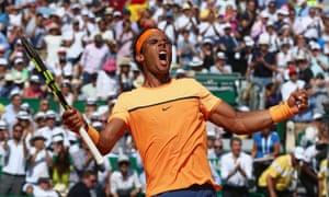 Rafael Nadal celebrates after beating Andy Murray.