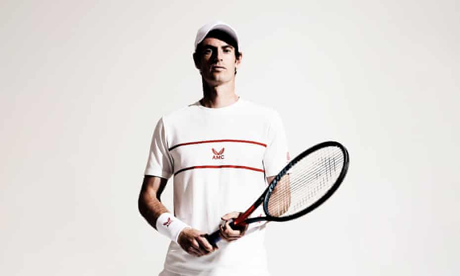 Andy Murray portrait, holding tennis racket, May 2021