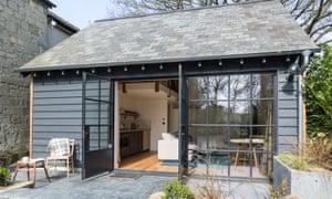 Wooden cabin with door open