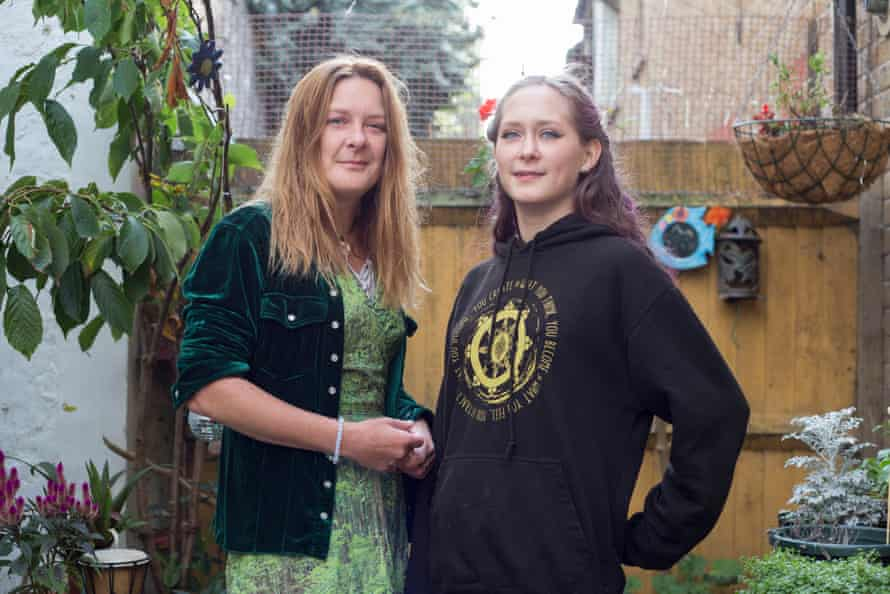 Elaine Star (on left) and her daughter Sadie in the garden of their home their home in Kemp town, Brighton