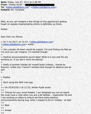 Amber Rudd email exchange with hoaxer, who she initially believed was Robbie Gibb.