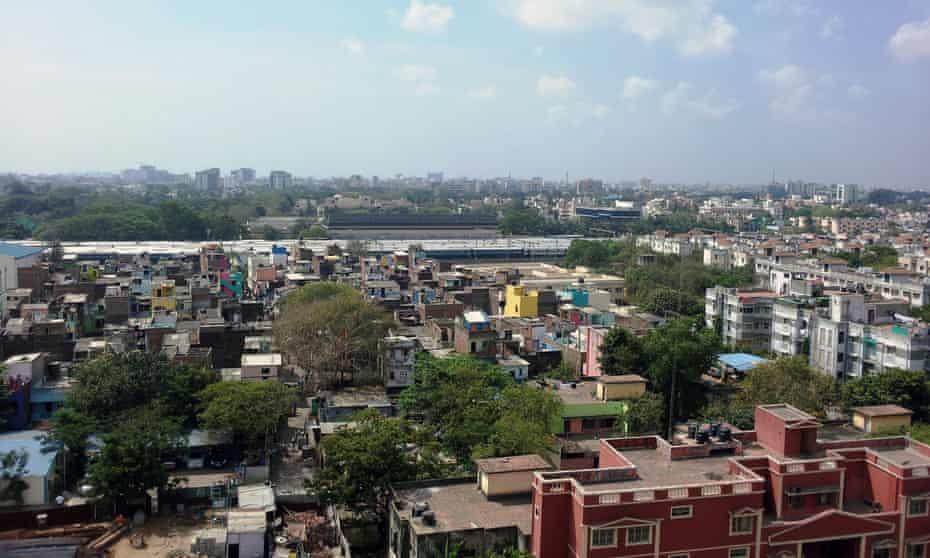 Chennai's layered urban fabric from above.