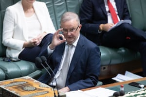 Anthony Albanese gestures towards home affairs minister Peter Dutton during question time