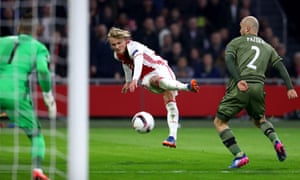 Ajax's Kasper Dolberg shoots in the game against Legia Warsaw