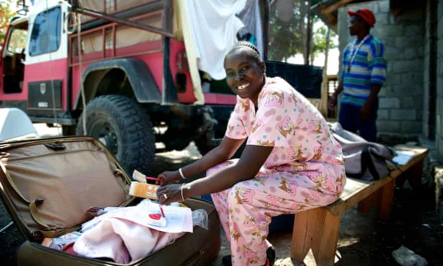 Marie Lerrecile Charles at a mobile clinic for pregnant women in Haiti