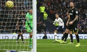 Dele Alli scores Tottenham's second in their 2-1 Premier League home victory against Brighton.