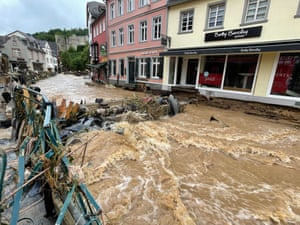 The city centre of Bad Münstereifel, Germany, was left devastated by flood waters