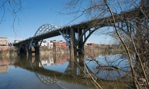 View of Edmund Pettus Bridge, Selma, Alabama, on the Selma to Montgomery National Historic Trail,