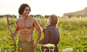 Poldark star Aidan Turner getting the brush-off from a crew member in this behind-the-scenes shot from the BBC drama.
