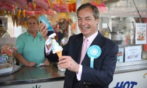 Brexit party leader Nigel Farage with an ice cream in Canvey Island while on the European Election campaign trail.