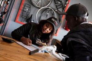 Mutinta Kanene – bike shop manager in Kalomo, Zambia.