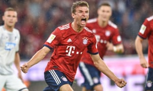 Thomas Müller celebrates after opening the scoring for Bayern against Hoffenheim