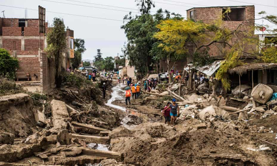 A view of the damage caused by flash floods in Huachipa district