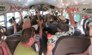 Passengers form an orchestra on the Hummingbird bus