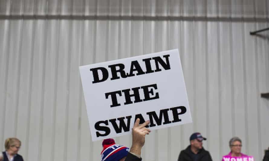 Drain the Swamp sign at a Trump rally