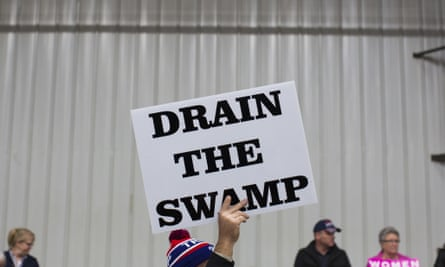 Drain the Swamp sign at a Trump rally