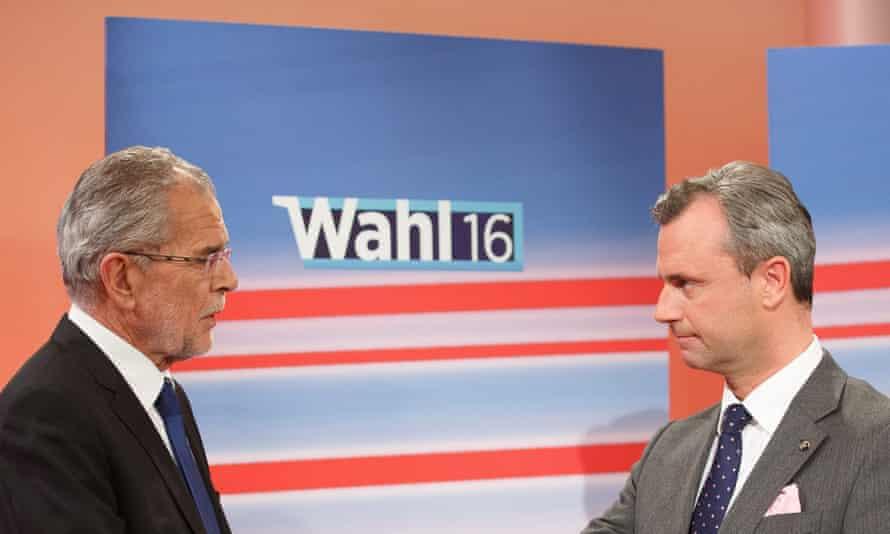 Alexander Van der Bellen (left) and Norbert Hofer on Austrian TV over the weekend.